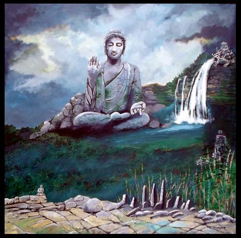 Buddah mit Wasserfall