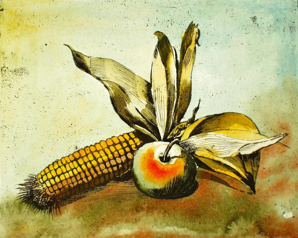 Maiskolben mit Apfel
