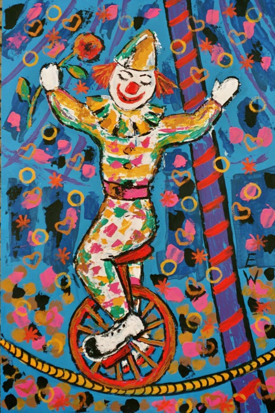 Clown auf dem Einrad