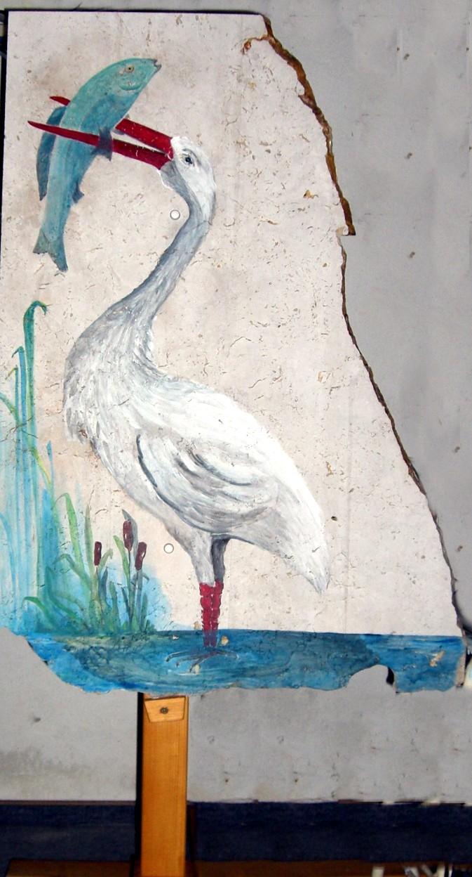 Vogel Reiher auf Auer-Marmor