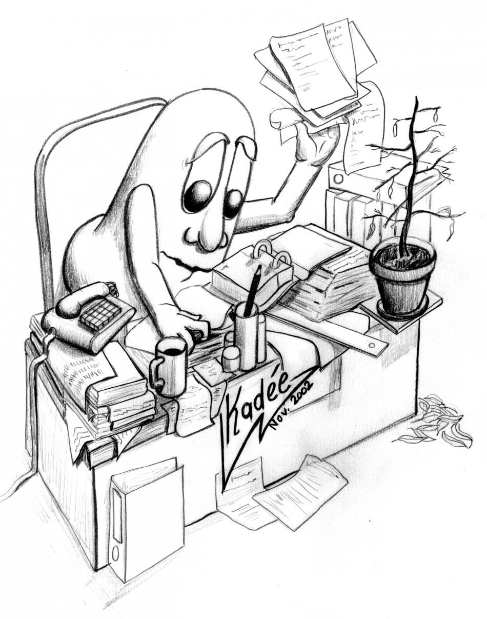 Schreibtisch gezeichnet  Kunstwerk Business Bohne