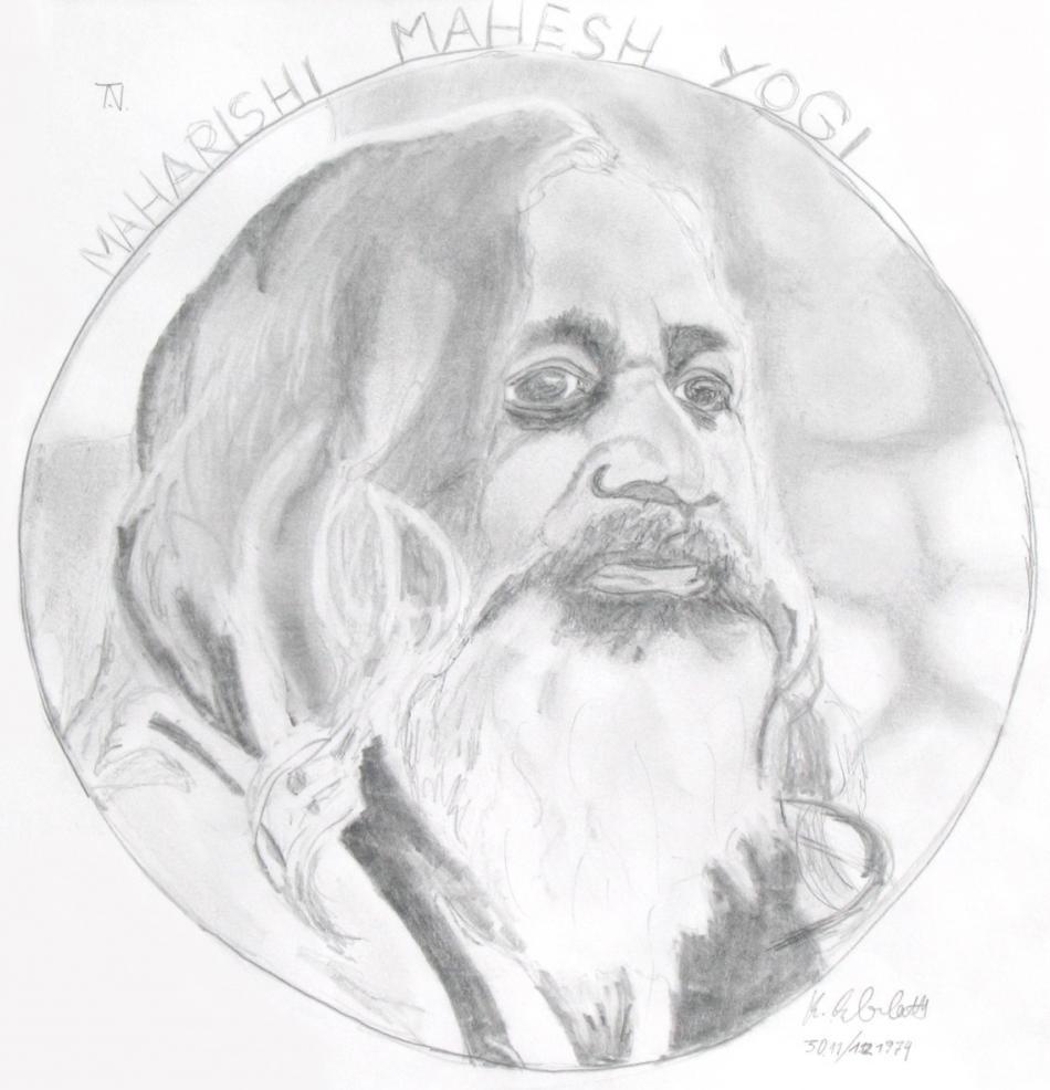 Maharishi Mahesh Yogi (1974) Bleistiftzeichnung KVN 007