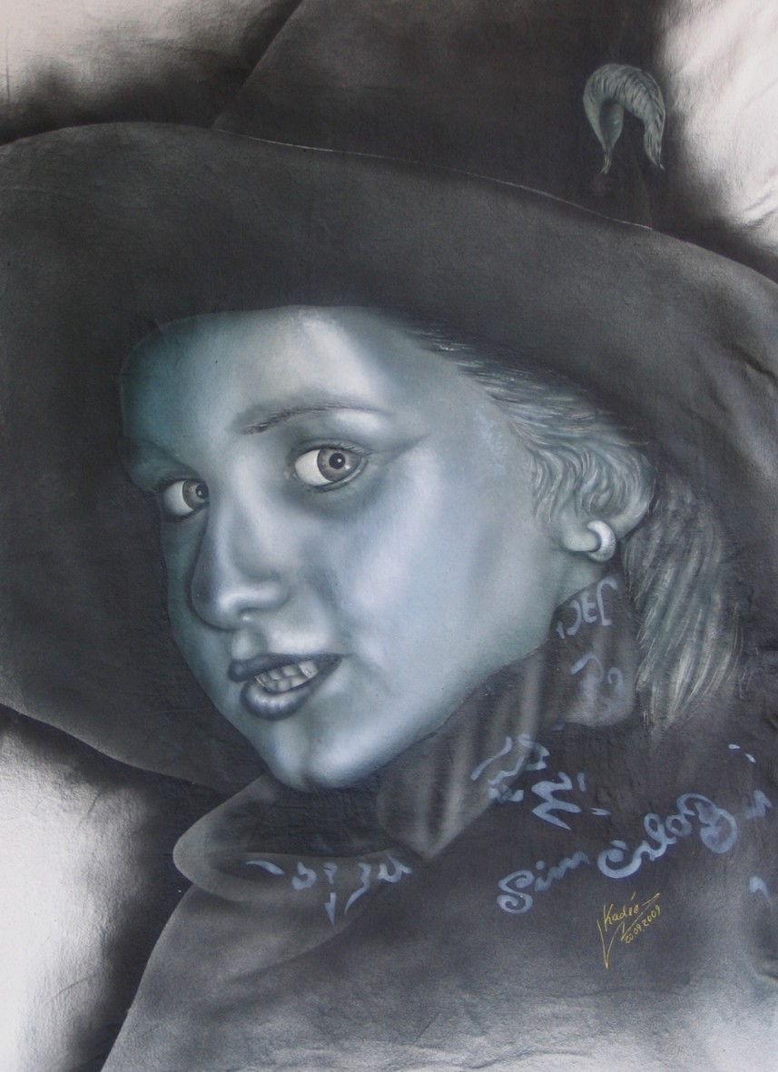 Silberhexe (2009) Airbrush-Portrait in Silberoptik KVN 475