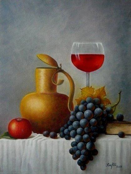 Stillleben mit dunkler Weintraube