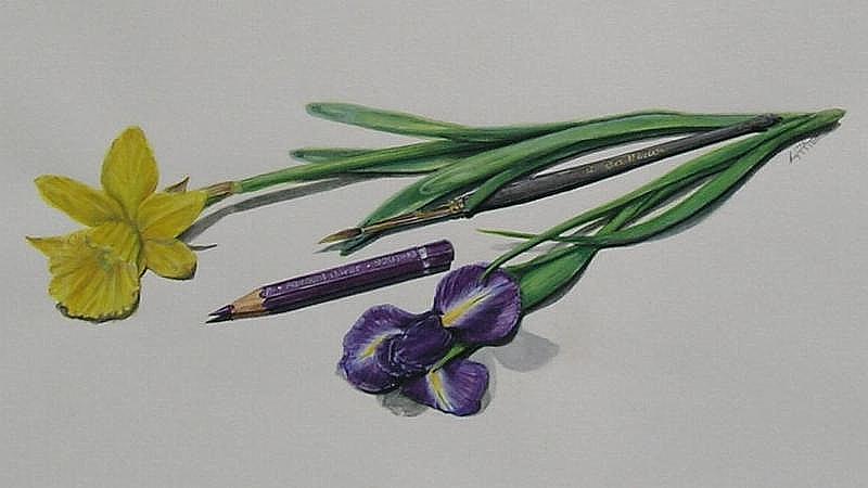 Blumen mit Pinsel