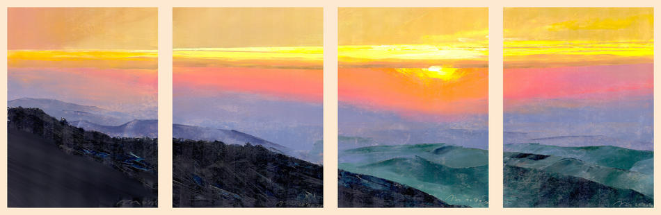 Sunset from hills of Dimerdji. Screen in 4 parts.