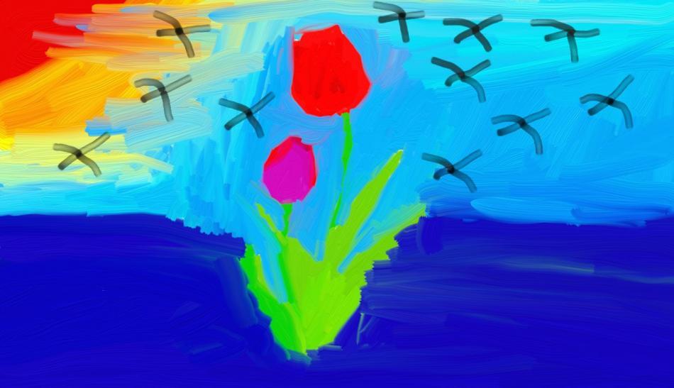 Tulpe bei Sonnenuntergang in Blue Wasser
