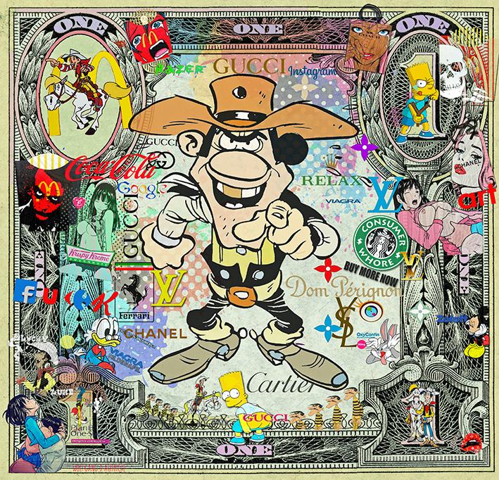 Lucky-Luke & Daltons on a dollar bill