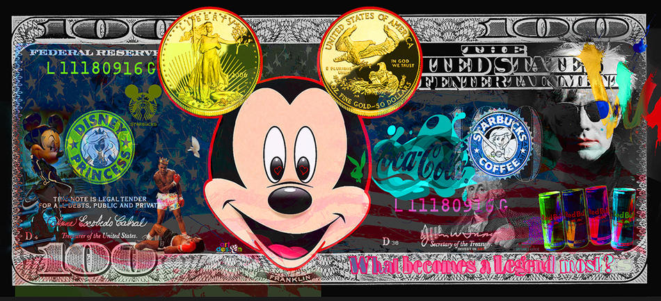 DOLLAR-ART Mickey with golddollar ears