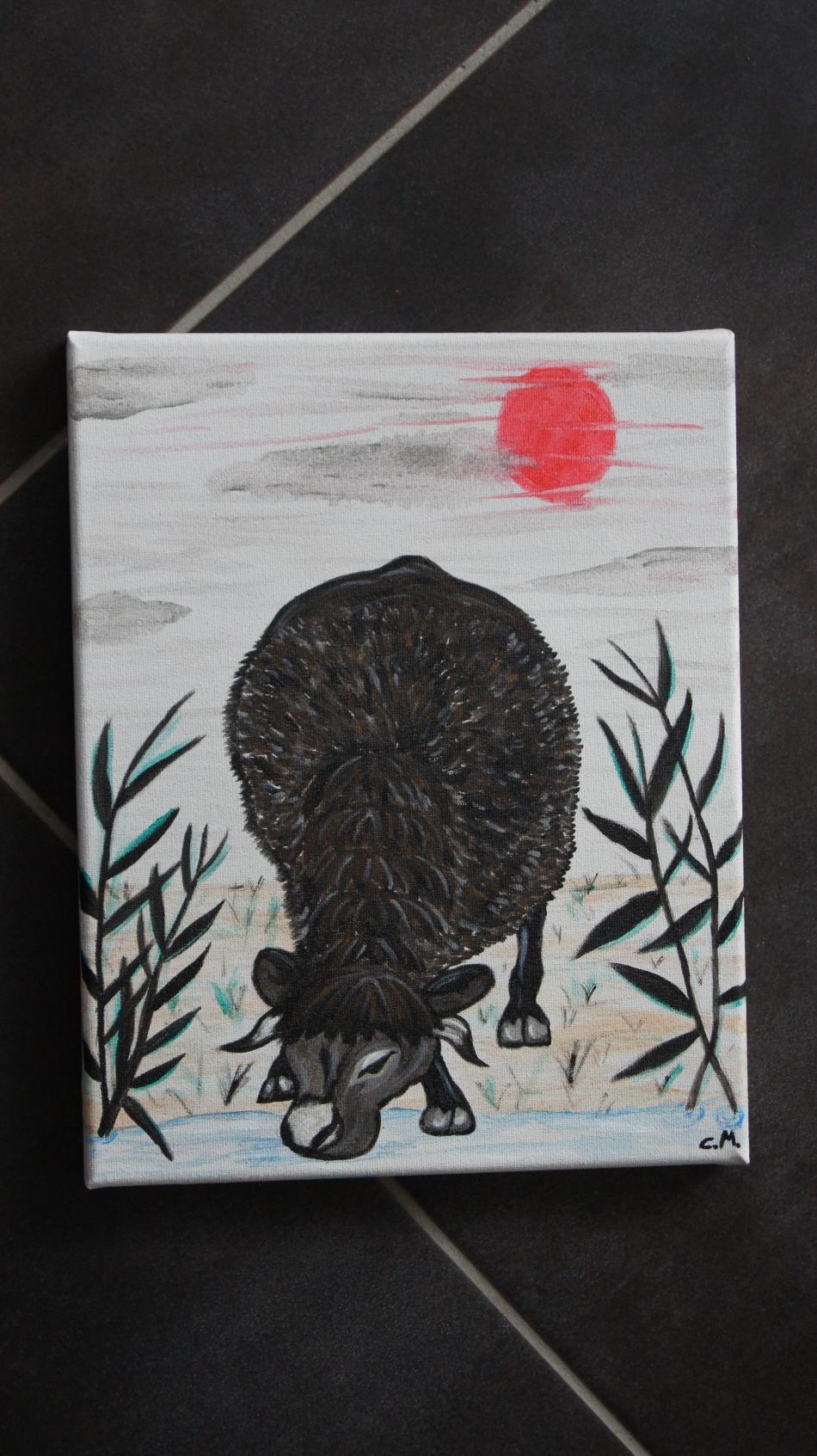 Kunstwerk Wasserbüffel bei der Tränke von C.Meyer