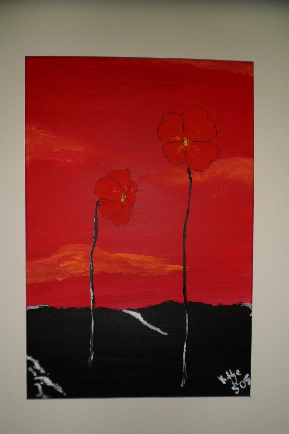 Zwei rote Blumen