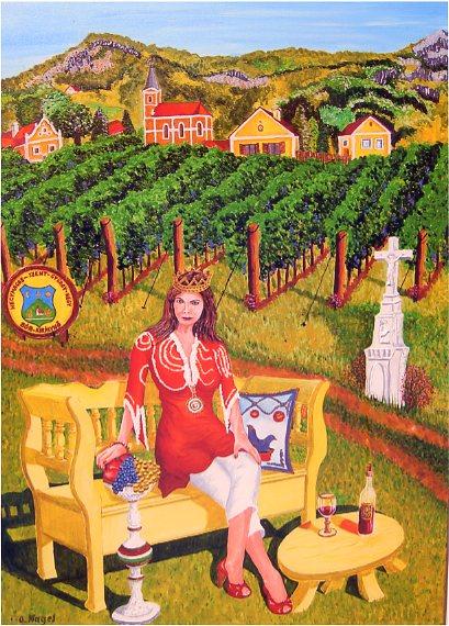 Weinkönigin an der St.George Berg in Ungarn