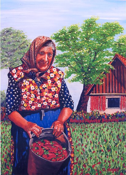 Paprika Bäuerin in Ungarn