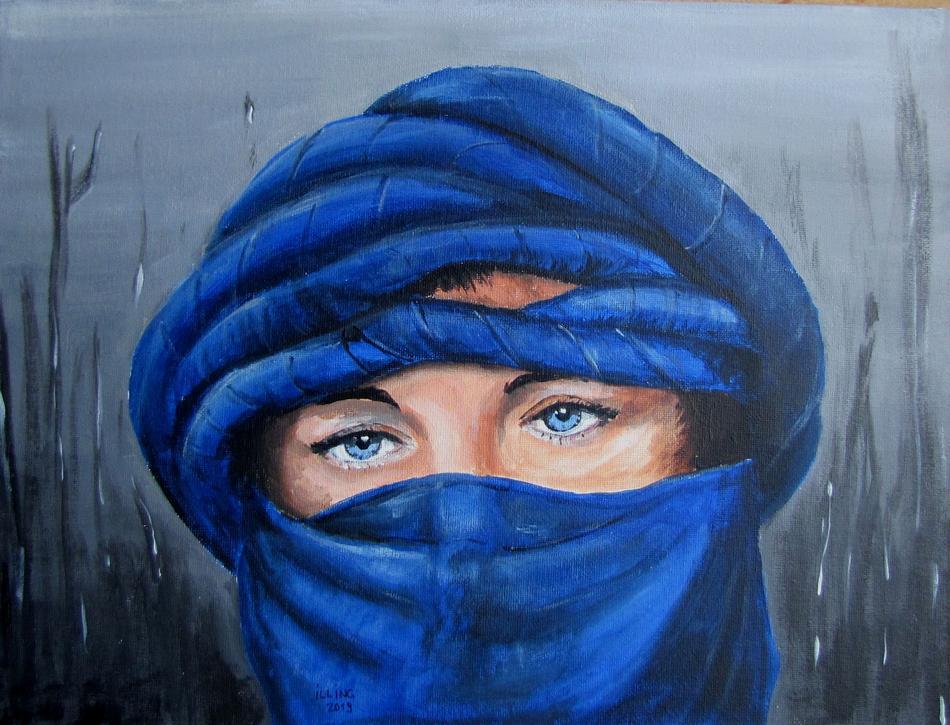 Beduinin mit blauen Augen