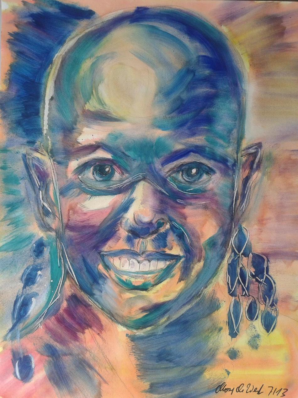 Afrikanerin mit Ohrringen