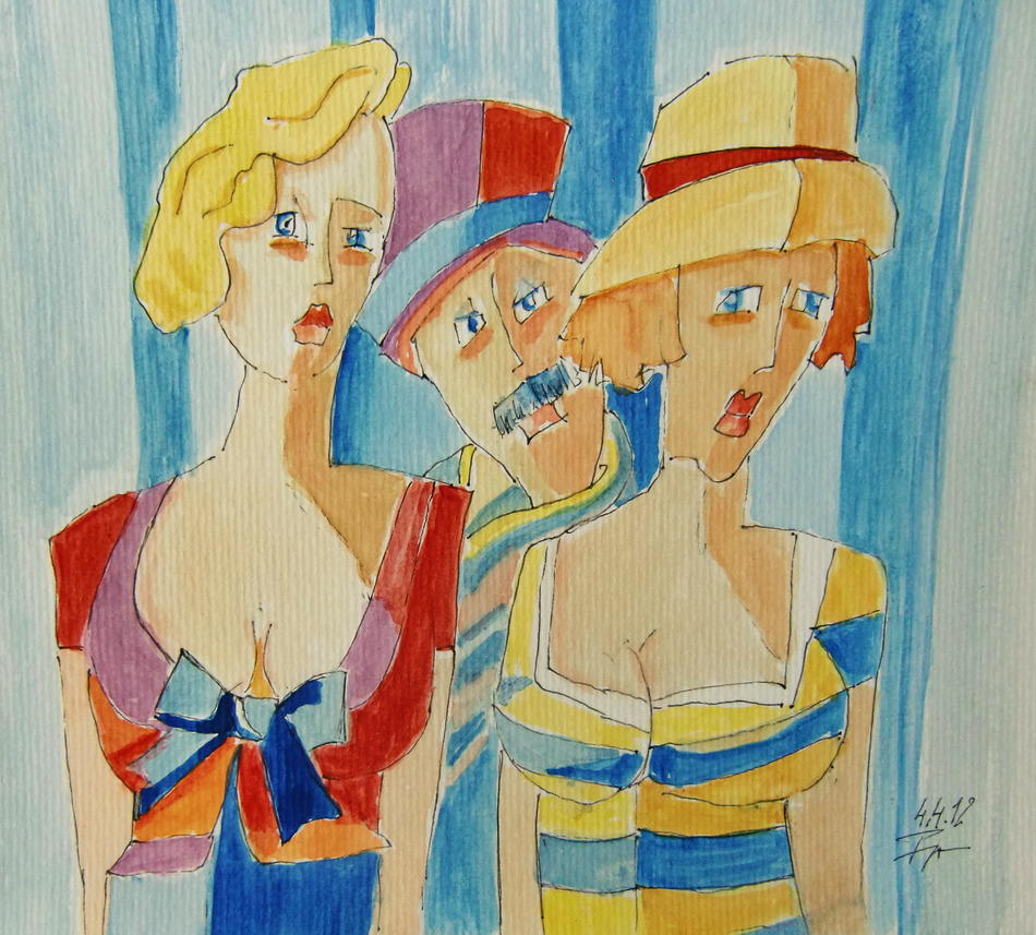 Zwei Damen und ein Herr in Paris