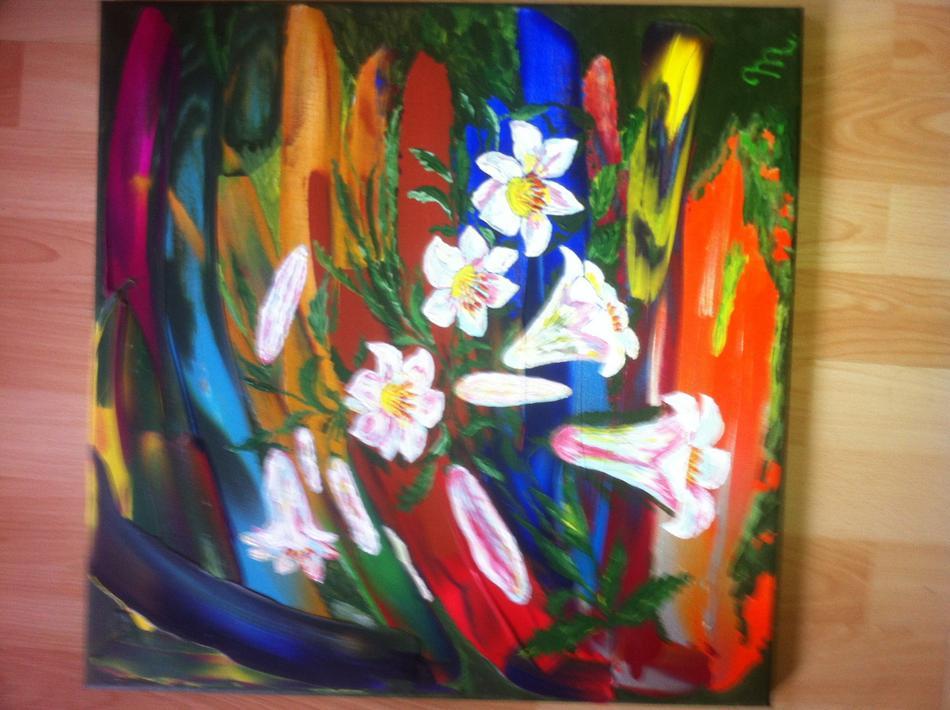 Pfntastischer Hintergrund mit weiße Lilien