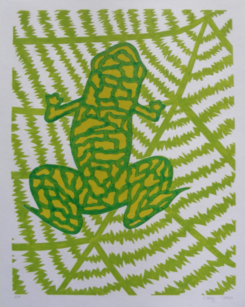 Frosch auf Blatt sitzend (Farbvariante 1)
