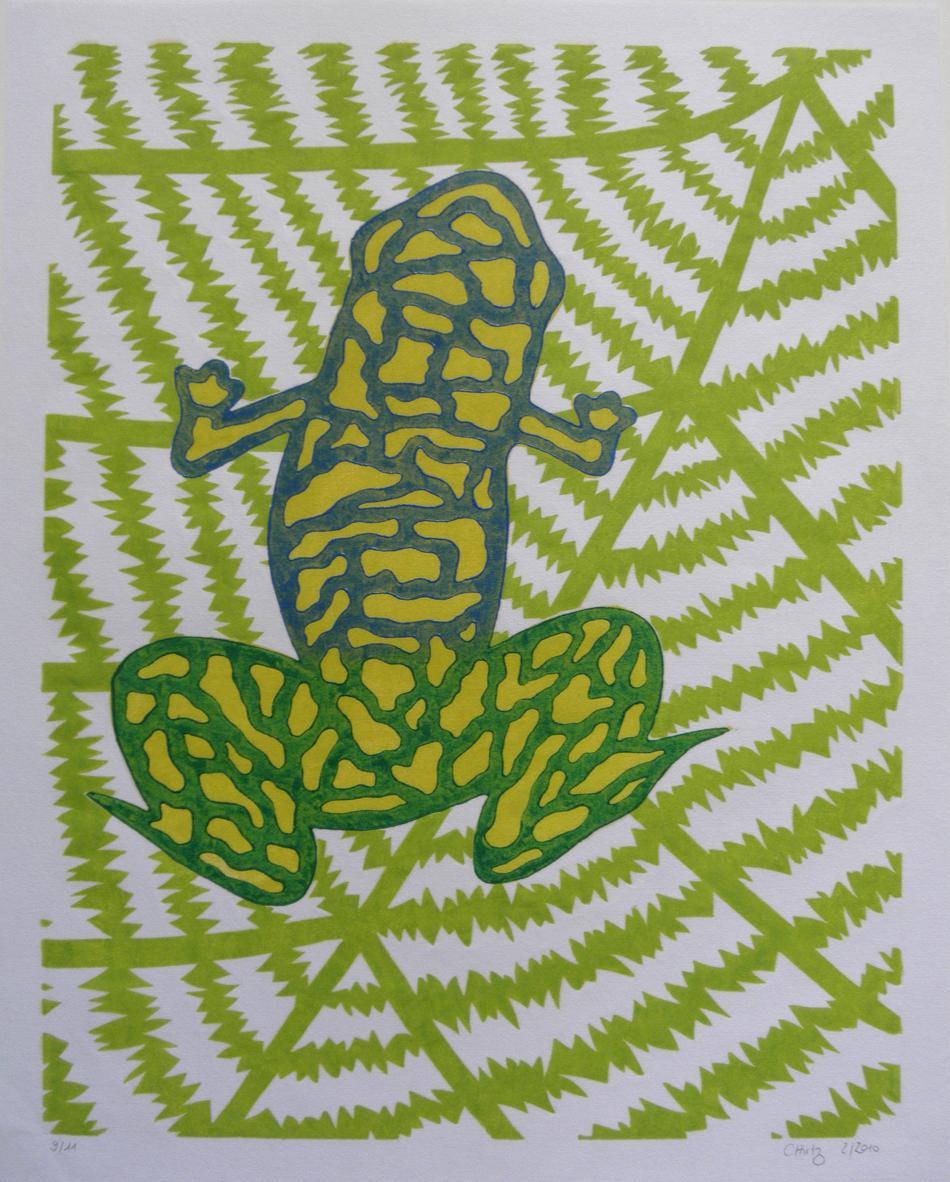 Frosch auf Blatt sitzend (Farbvariante 3)