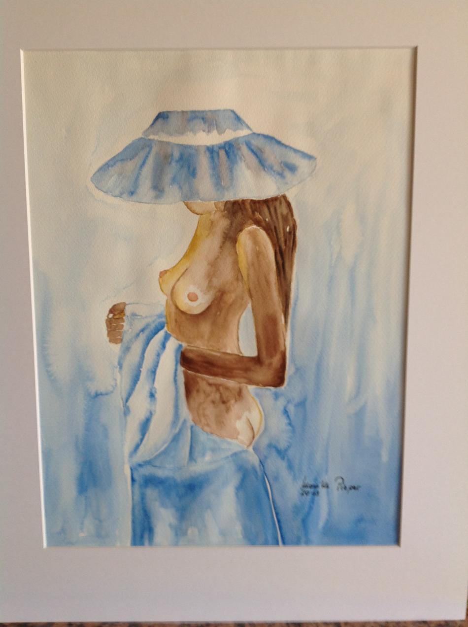 272 Weibl. Akt mit blauem Tuch