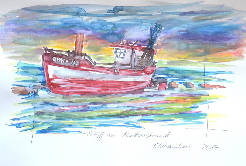 Schiff am Nordseewatt