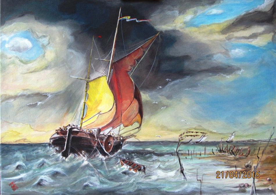 Fischerboot im Sturm