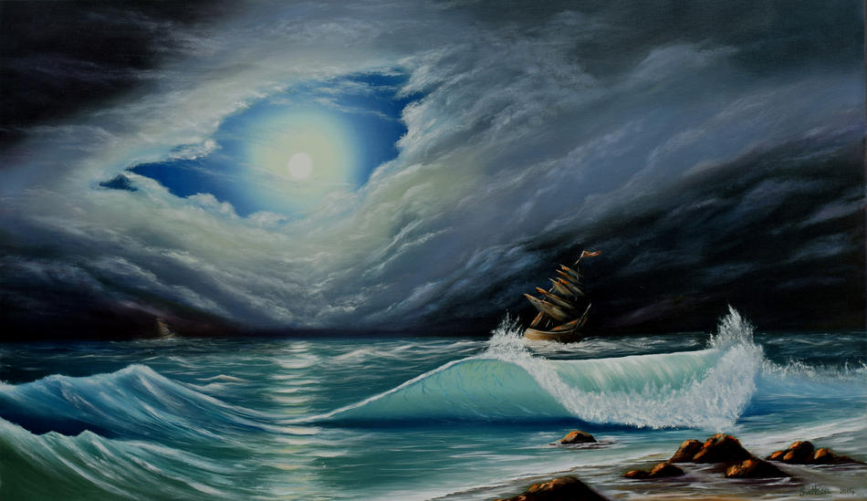 The stormy sky