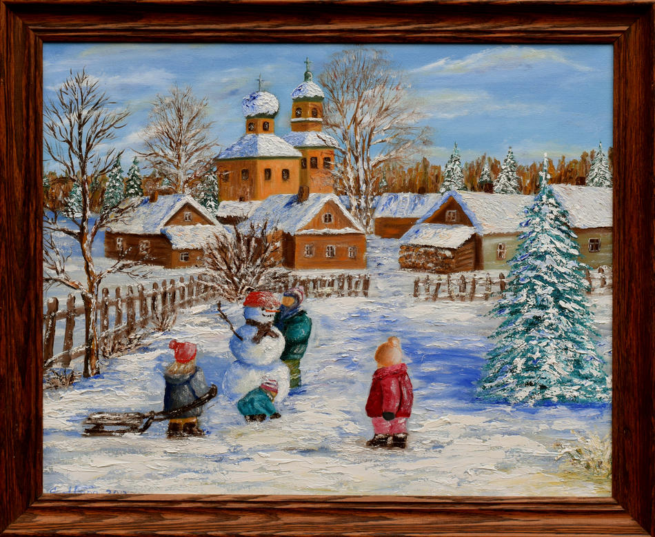 The first snow in the village