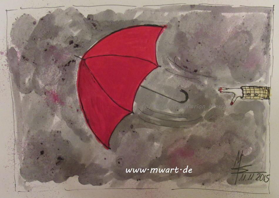 The flying red Umbrella - der fliegende rote Regenschirm