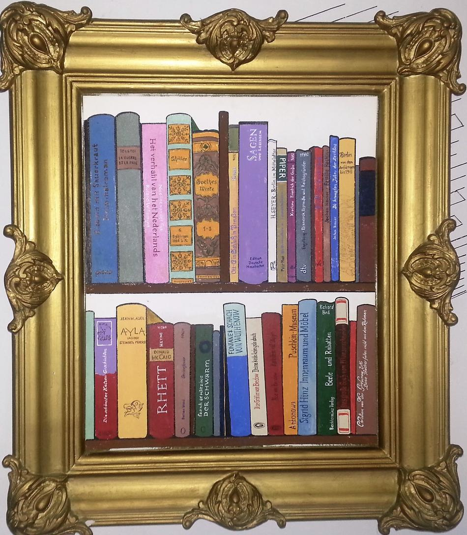 Kunstwerk diese Bücher fallen nicht aus dem Rahmen von