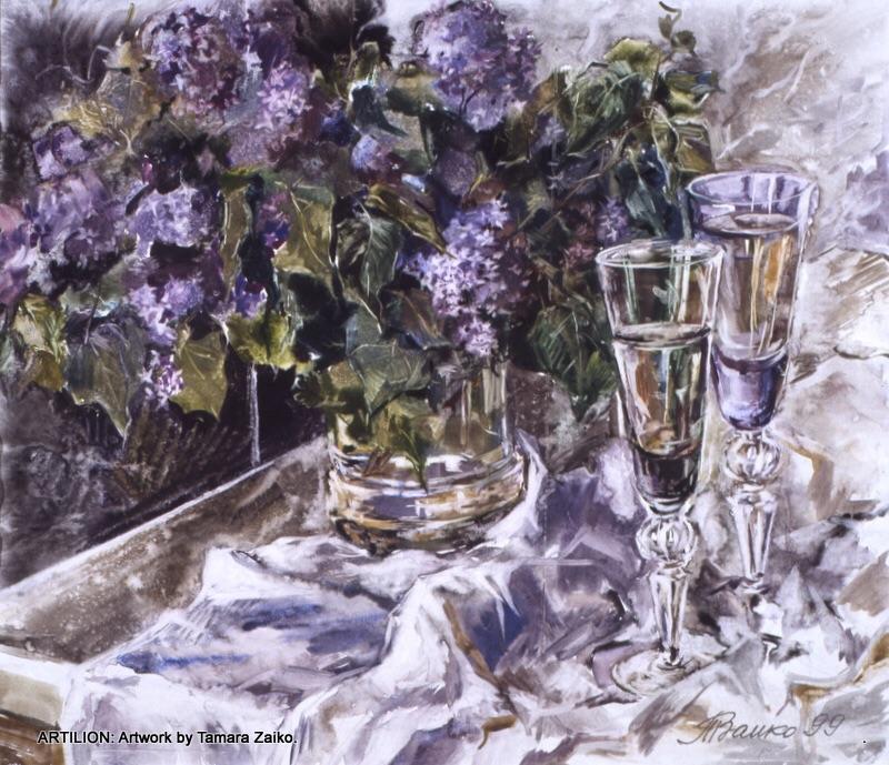2 Weingläser und Flieder
