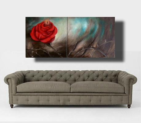 Silent Fire Rosen Gemälde mit kleiner Flamme in der Rose