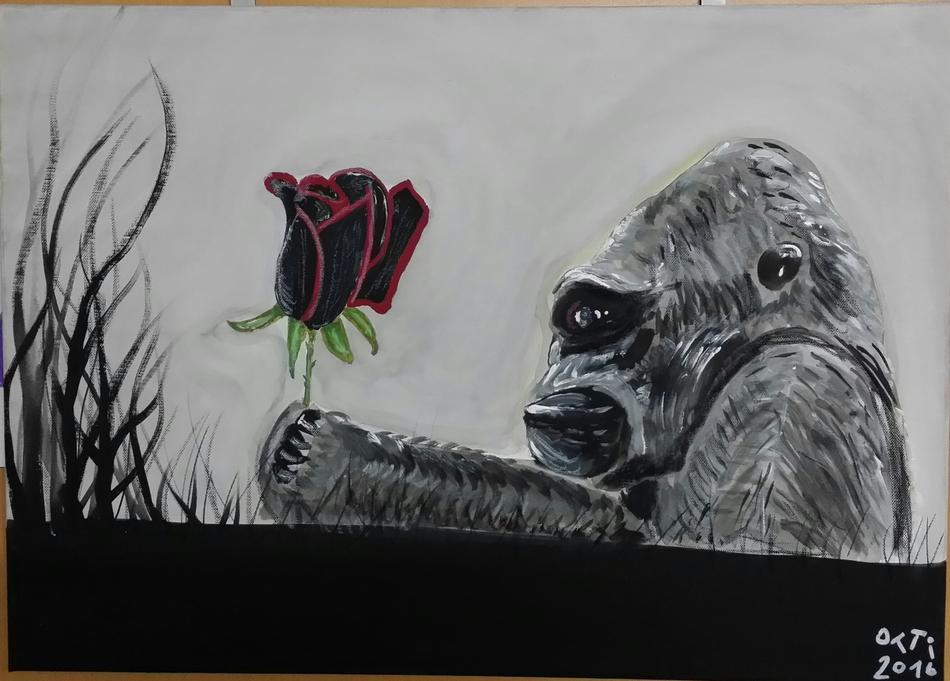Gorilla mit Rose