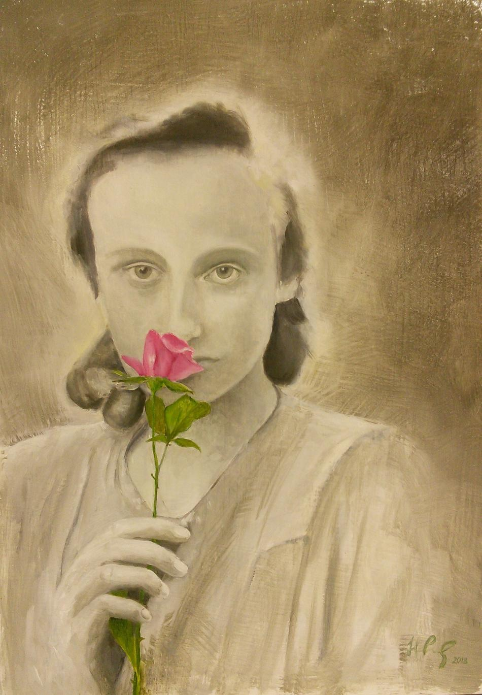 Mädchenbild mit Rose