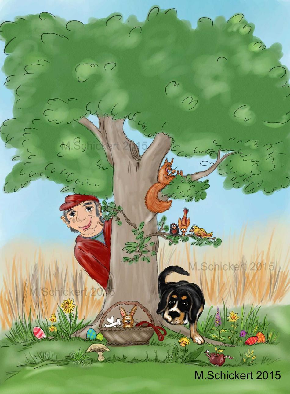 Kinderbuchillustrationen Ostern, Hundegeschichte