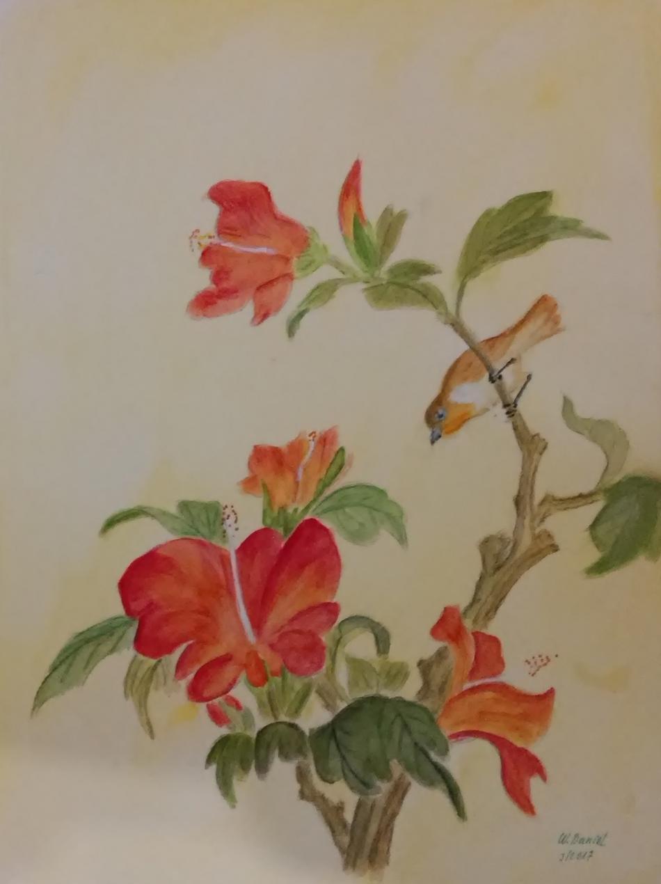 87-Hibiskus mit Vogel