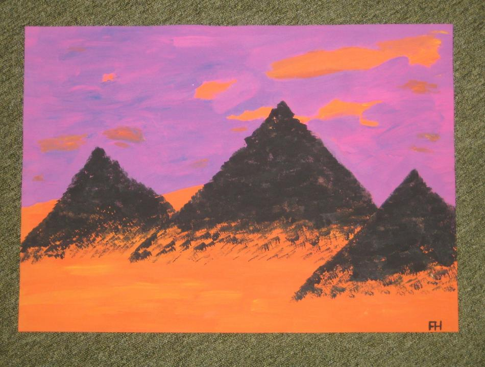 3 Pyramiden, pink, orange