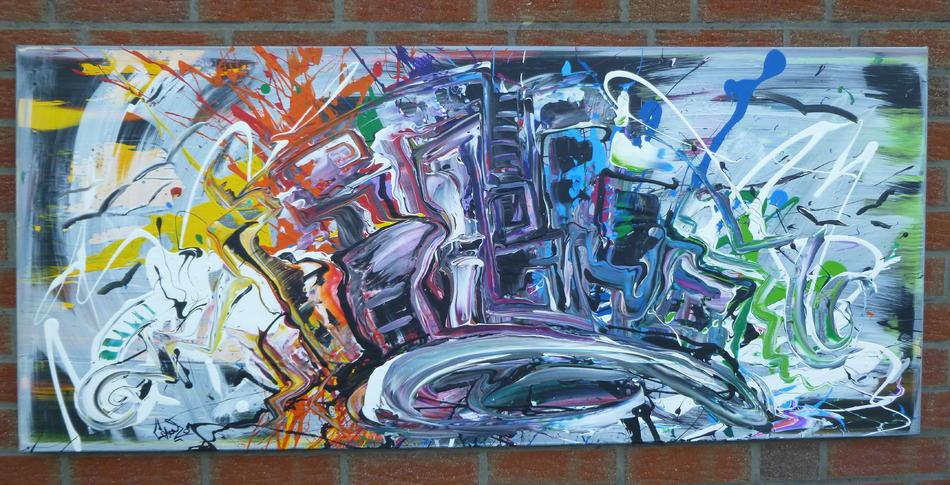 Abstraktes Acrylbild 70x160 (Gonzo V.) handgemalt Malerei