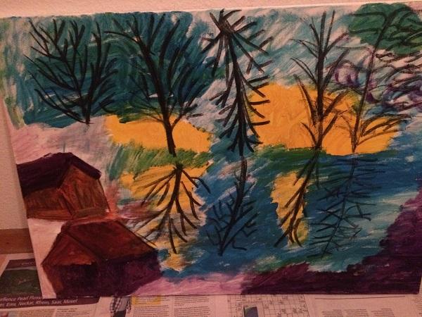 Bäume spiegeln sich im See