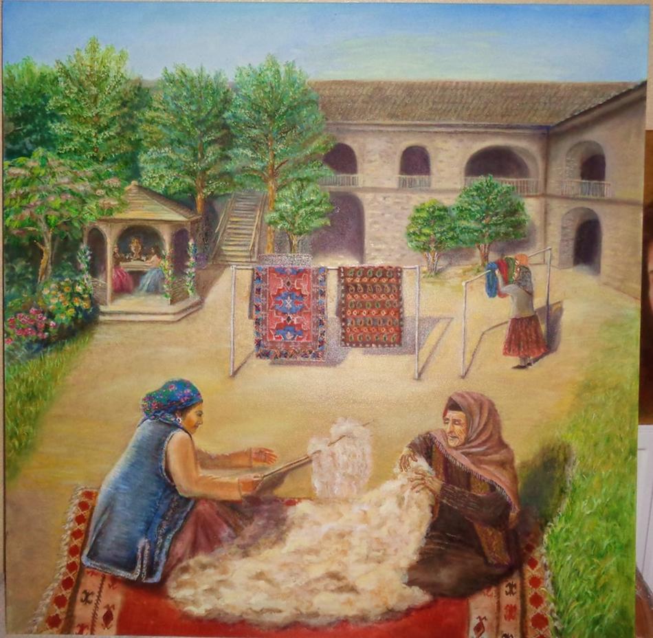 Hecheln Wolle für Teppich