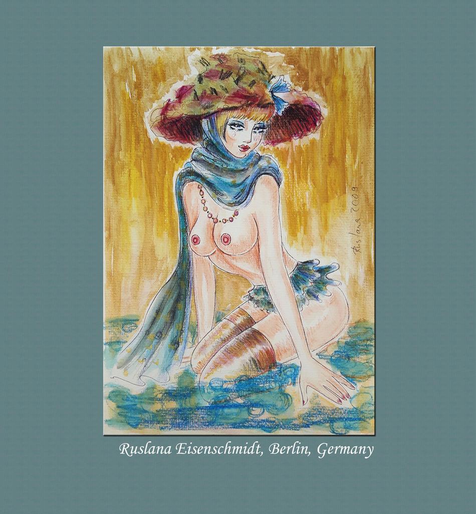 Original Ruslana Eisenschmidt nude Film Star 1960 Rarität female Akt Zeichnung