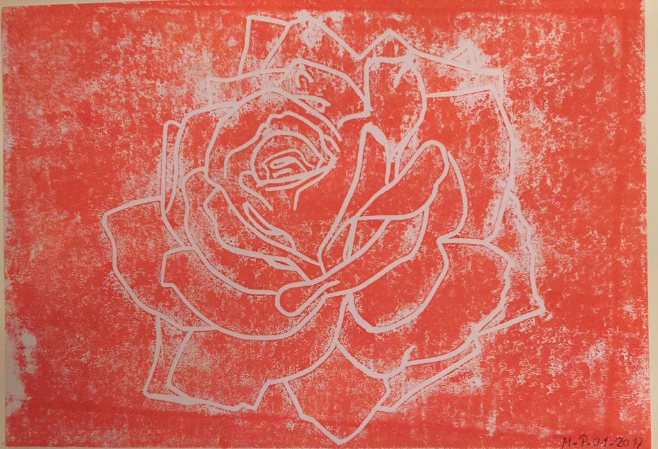 Linoldruck Rose A4