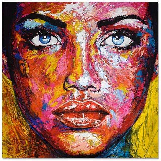 Original Gemälde Leinwand Acryl modern Gesicht abstrakt Bild 881 Hand Portrait