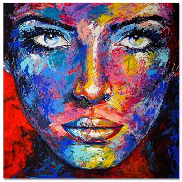 Original Gemälde Leinwand Acryl modern Gesicht abstrakt Bild 877 Hand Portrait