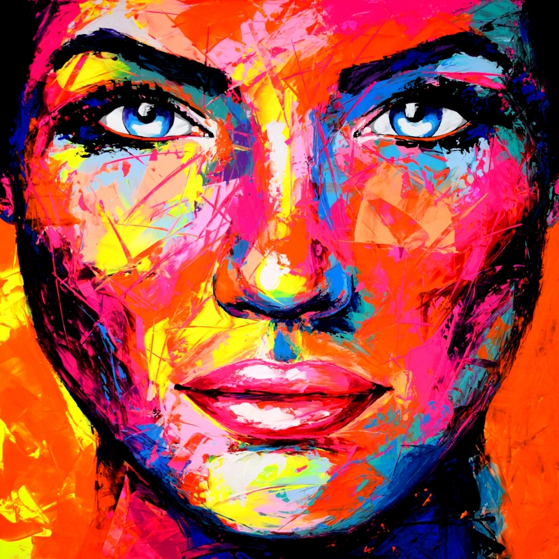UCS Original Gemälde Leinwand Acryl Gesicht abstrakt Portrait