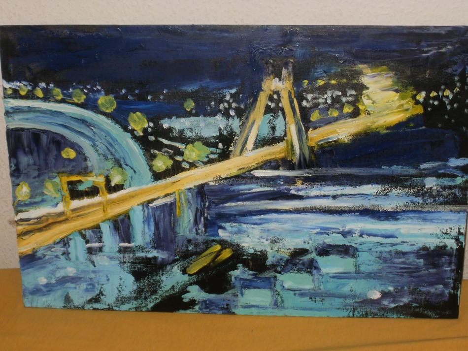 Ludwigshafen bei Nacht Ölbild