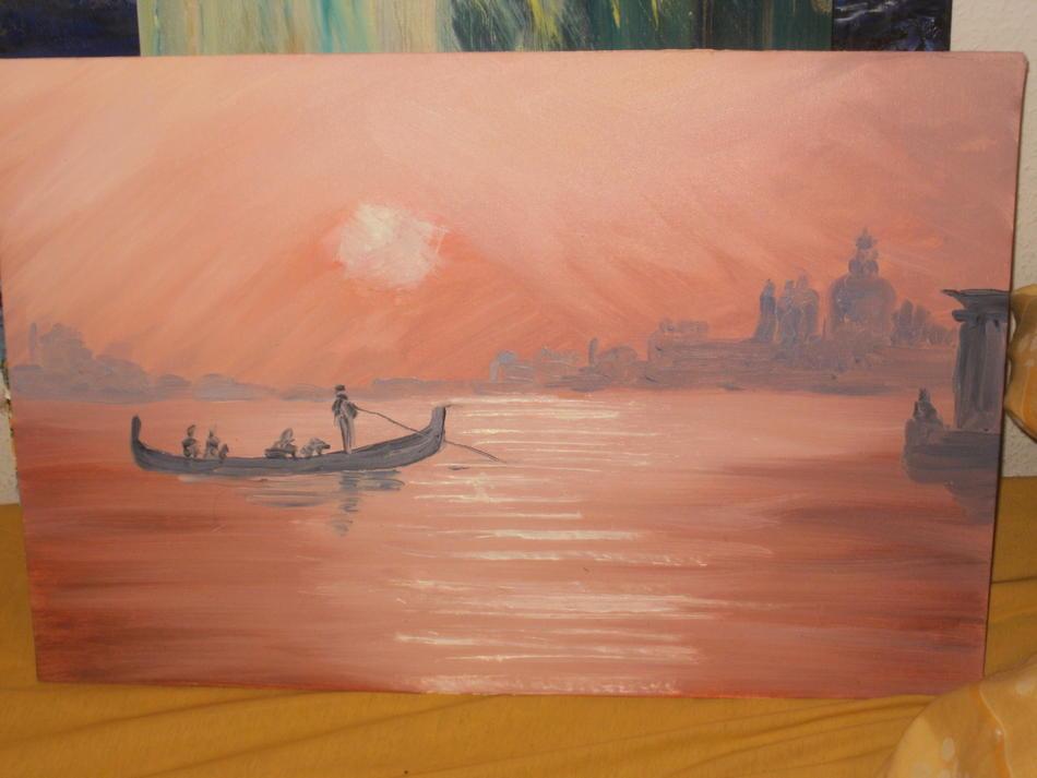 Venedig Grande Canal Ölbild rot