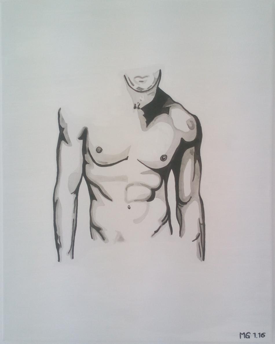 Kunstwerk Akt Mann Oberkörper von