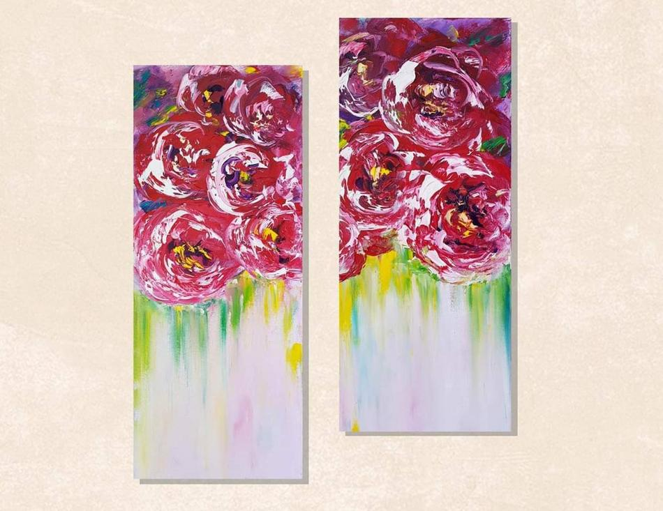 Flowers abstrakt 2 Teile