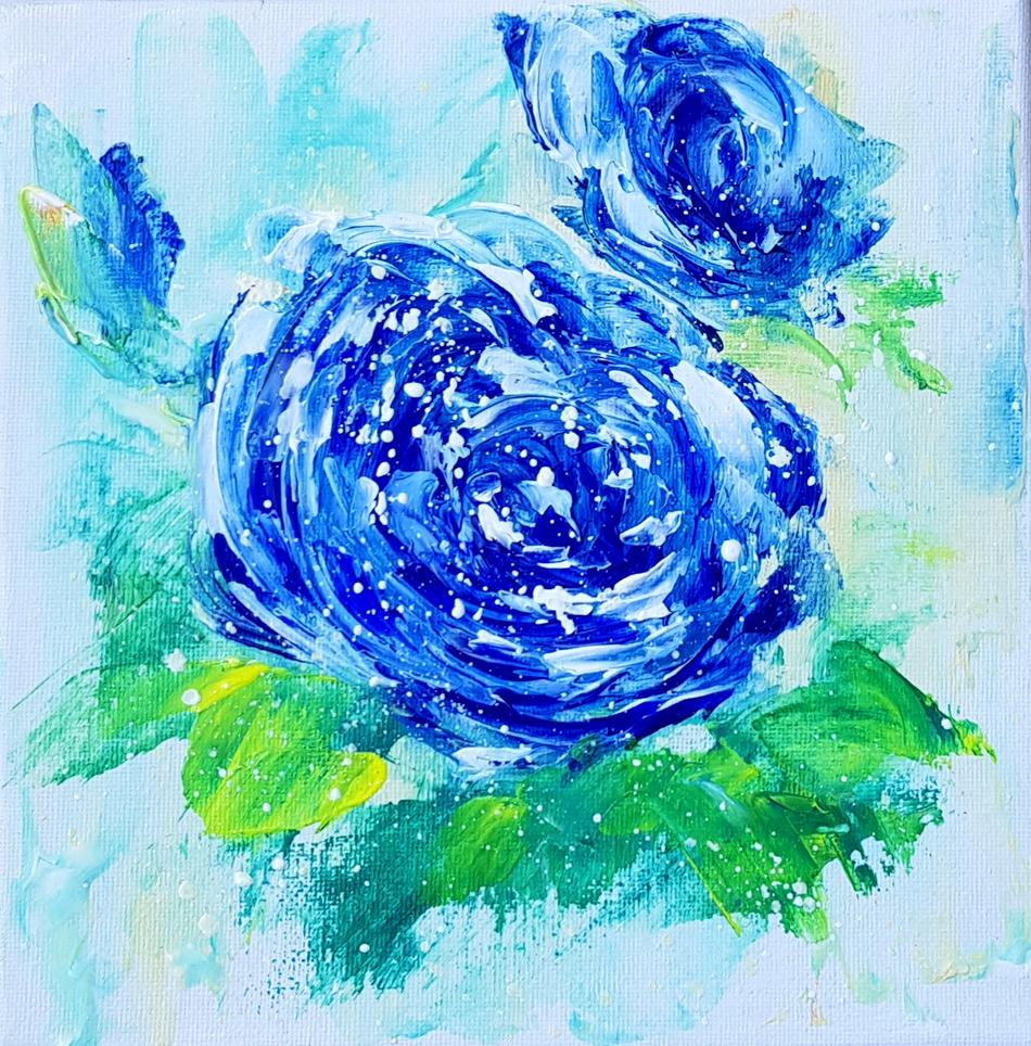 Blue roses small painting